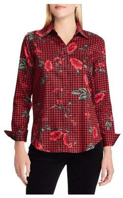 Chaps Petite No-Iron Slim-Fit Printed Shirt