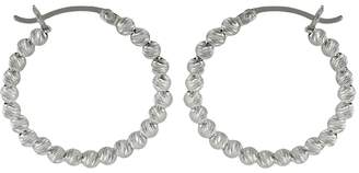 Sterling Silver Bead Hoop Earrings