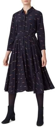 Hobbs London Lainey Fox Print Shirt Dress