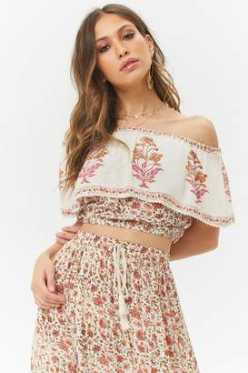 Forever 21 Floral Flounce Off-the-Shoulder Top