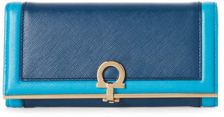 Salvatore Ferragamo Blue & Turquoise Gancini Leather Flap Wallet