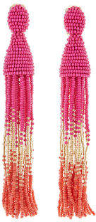 Oscar de la Renta Long Ombre Beaded Tassel Clip-On Earrings