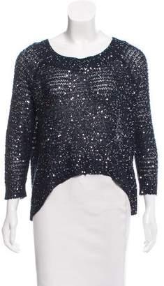 Aqua Sequin-Embellished Knit Sweater