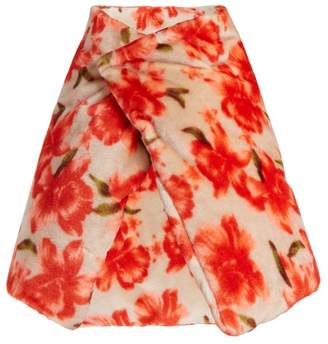Jil Sander Floral Wrap Scarf - Womens - Red
