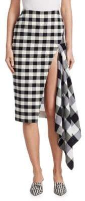 Monse Split Gingham Slash Pencil Skirt