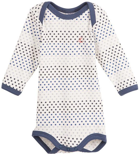 Petit Bateau Unisex Baby Long-Sleeved Bodysuit In Star Print Cotton