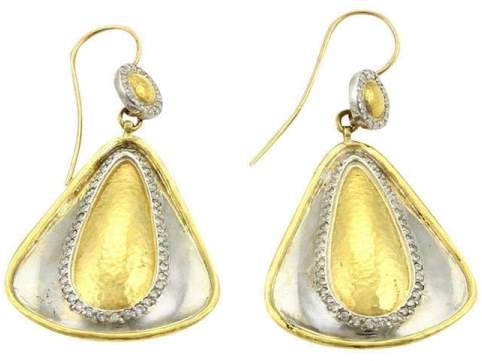 Gurhan 24K Yellow Gold & Sterling Silver Clover Diamonds Drop Dangle Earrings
