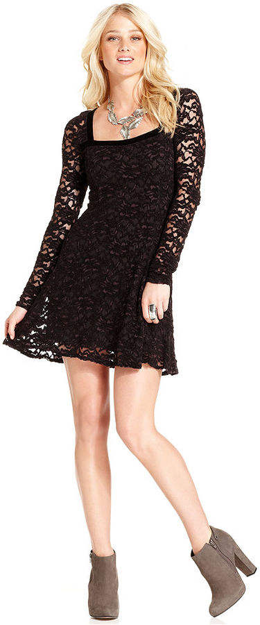 Free People Dress, Long-Sleeve Square-Neck Lace Cutout A-Line