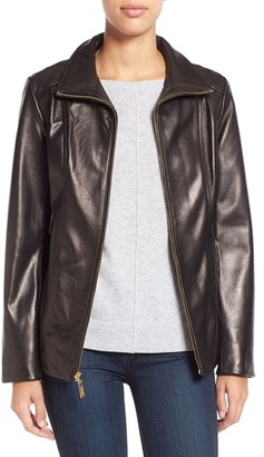 Women's Ellen Tracy Stand Collar Leather Jacket $575 thestylecure.com