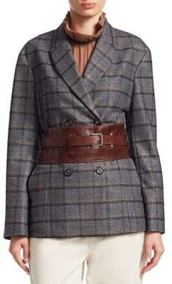 Brunello Cucinelli Flannel Lurex Plaid Belted Jacket
