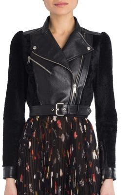 Alexander McQueen Leather & Shearling Moto Jacket $3,795 thestylecure.com