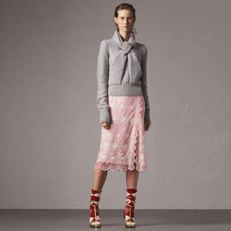 Burberry Chantilly Lace Trim Embroidered Tulle Skirt