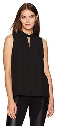 Nine West Women's Solid Woven Blouse with Collar Detailing (2)