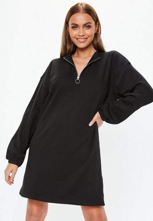 Tall Black Oversized Zip Front Sweatshirt Dress, Black