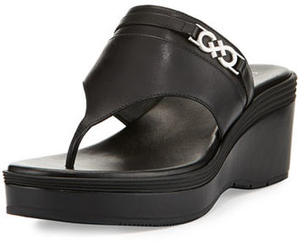 Cole Haan Lindy Grand Thong II Wedge Sandal, Black $100 thestylecure.com