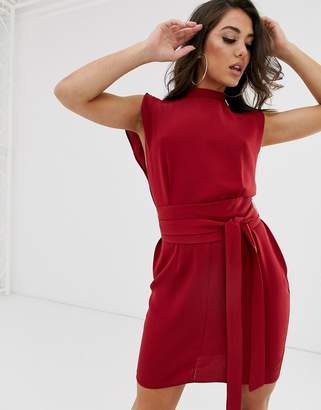 Asos Design DESIGN split sleeve mini dress with obi belt