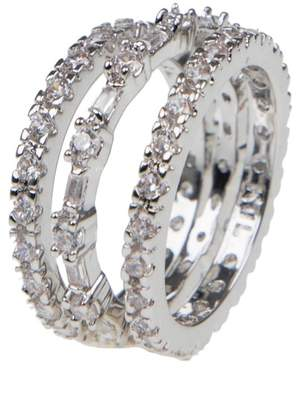 Kenneth Jay Lane CZ By Round & Baguette Cut CZ Eternity Band