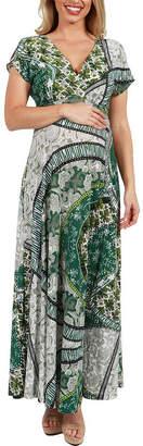 24/7 Comfort Apparel 24Seven Comfort Apparel Lena Print Empire Waist Maternity Maxi Dress