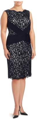 Tadashi Shoji Women's Sleeveless Two-Tone Lace Dress