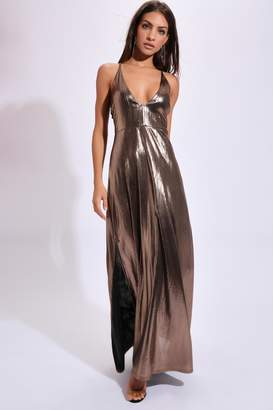 I SAW IT FIRST Bronze/Foil Plunge Front Maxi Dress