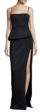 Black Halo Tia Neoprene Peplum Gown $575 thestylecure.com
