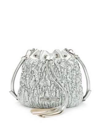 Miu Miu Small Matelasse Paillettes Drawstring Bucket Bag