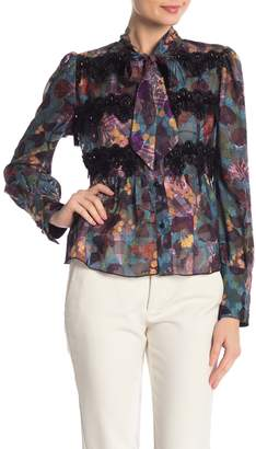 Anna Sui Floral Embroidered Sheer Tie-Front Blouse