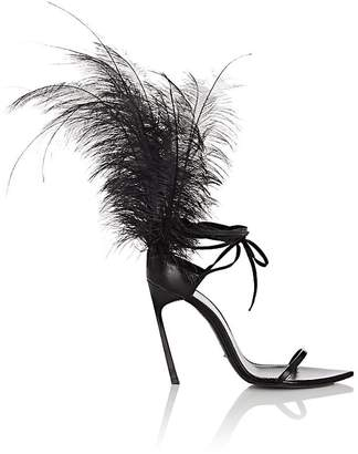 Saint Laurent Women's Talitha Leather Ankle-Wrap Sandals