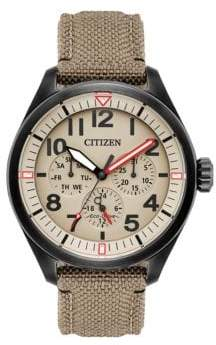 Citizen Chandler Eco-Drive Military Analog Cordura Fabric Strap Watch