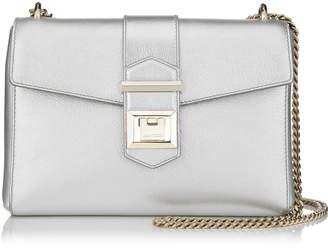 Jimmy Choo MARIANNE SHOULDER BAG/S Silver Metallic Grainy Calf Leather Shoulder Bag