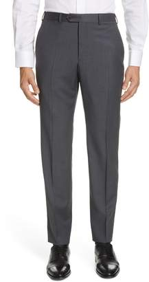Emporio Armani Flat Front Solid Wool Trousers