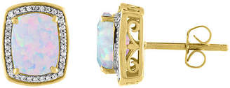 FINE JEWELRY Lab Created Multi Color Opal 10K Gold Stud Earrings