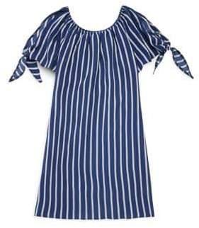 Un Deux Trois Girl's Short-Sleeve Peek Stripe Blouse