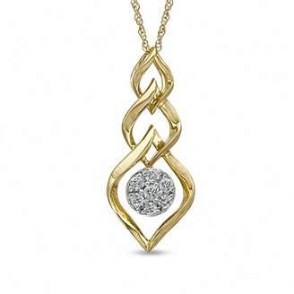 Zales 1/8 CT. T.W. Diamond Cluster Triple Drop Pendant in 10K Gold