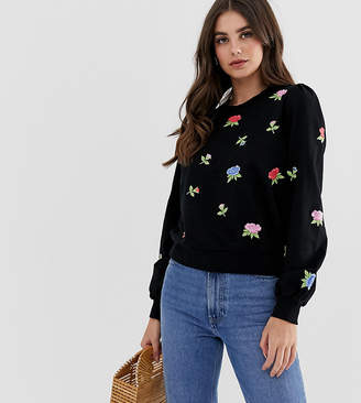 Asos Tall DESIGN Tall sweatshirt with floral embroidery