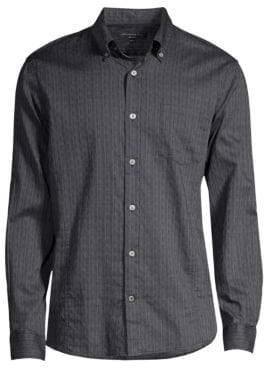 John Varvatos Men's Long Sleeve Button-Down Shirt - Black - Size Small