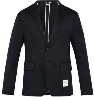 Thom Browne Single Breasted Cotton Blazer - Mens - Navy