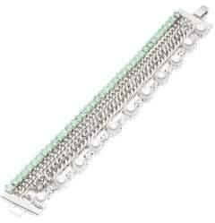 Carolee Marlene Crystal & 8mm Cabochon Glass Pearl Bracelet