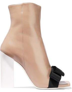 Lanvin Bow-embellished Leather Ankle Boots