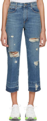 Stella McCartney Blue Cropped Destroyed Jeans