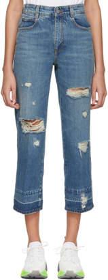 Stella McCartney Blue Cropped Destroyed Jeans