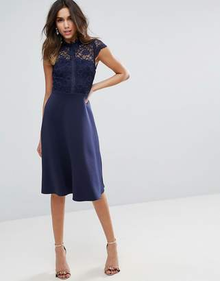 Asos Design High Neck Midi Skater Dress With Lace Top