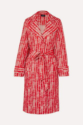 Akris Barbarella Belted Embroidered Cotton-blend Chiffon Coat
