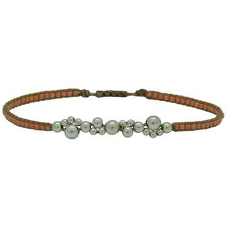 LeJu London - Silver Bubble Bracelet in Salmon