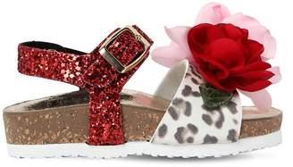 MonnaLisa Glittered Faux Leather Sandals W/ Flower
