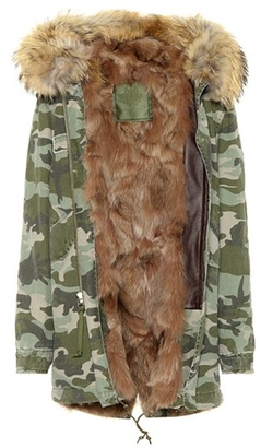 Fur-lined cotton parka