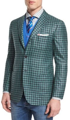 Kiton Silk/Cashmere Check Two-Button Jacket w/ Patch Pockets, Green/Navy $6,995 thestylecure.com