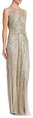 Jenny Packham Women's Sequin Illusion Sheath Gown