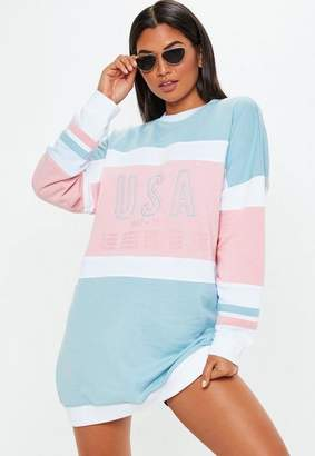Missguided Pink Colour Block Long Sleeve USA Sweater Dress