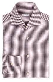 Kiton Men's Checked Cotton Dress Shirt - White